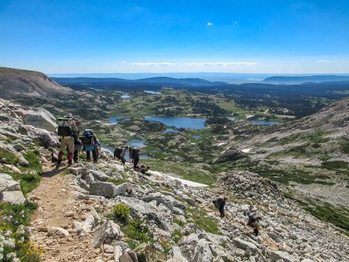 Descending the peak